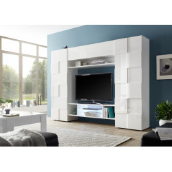 Diana white gloss wall unit with LED lights