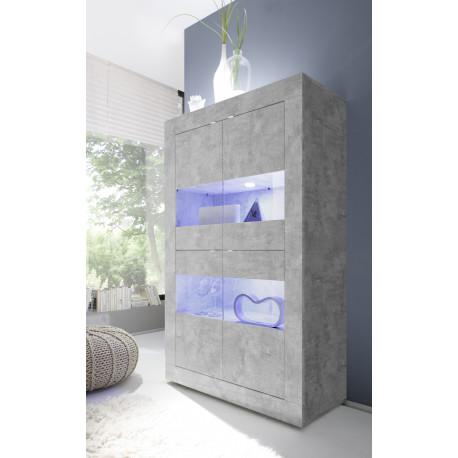 Dolcevita wide display cabinet in concrete finish