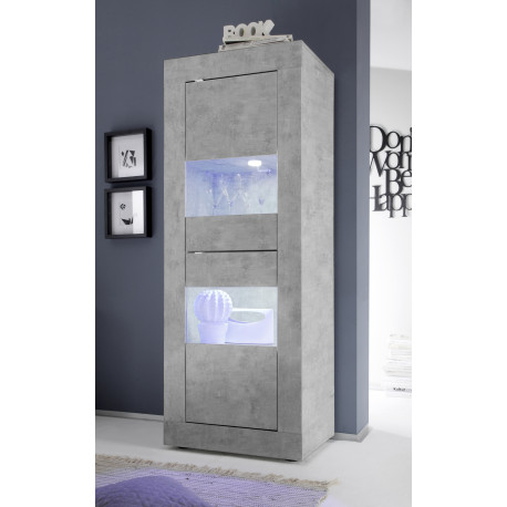Dolcevita narrow display cabinet in concrete finish
