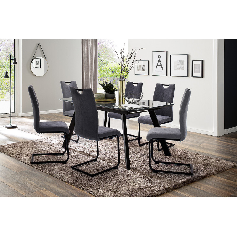 omaha extendable dining table in grey finish  dining