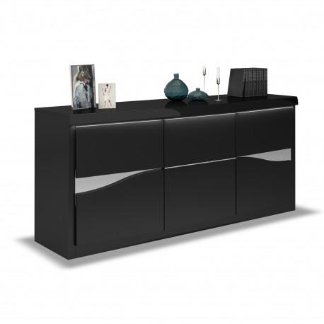 Spirit 220cm black gloss sideboard with led lights
