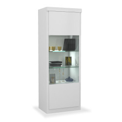 Spirit white gloss narrow display cabinet with led lights