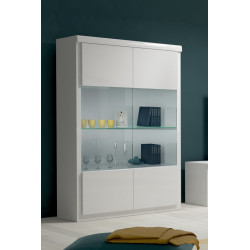 Spirit white gloss wide display cabinet with led lights