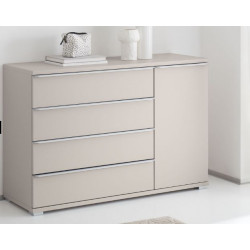 Rubin assembled combi chest with 4 drawers 1 door