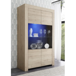 Arden wide display cabinet in kadiz oak finish