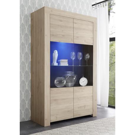 Arden wide display cabinet in kadiz oak finish