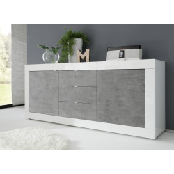 Dolcevita II white gloss and concrete finish sideboard
