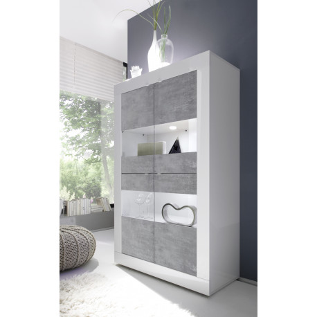 Dolcevita wide gloss and concrete display cabinet