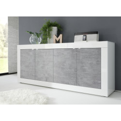 Dolcevita 4 doors white gloss and concrete finish sideboard