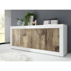 Dolcevita 4 doors white gloss and oak finish sideboard