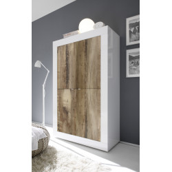 Dolcevita wide gloss and oak storage cabinet