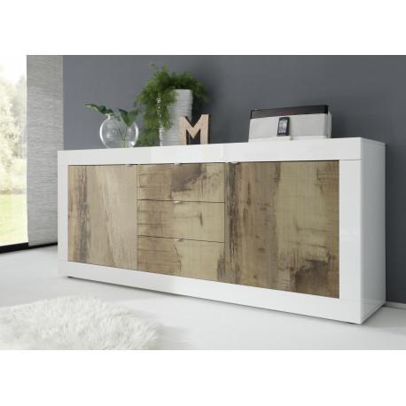 Dolcevita II white gloss and oak finish sideboard