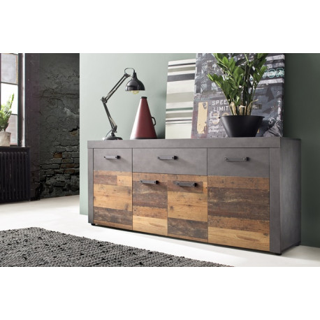 Indy sideboard in old wood and grey matera finish