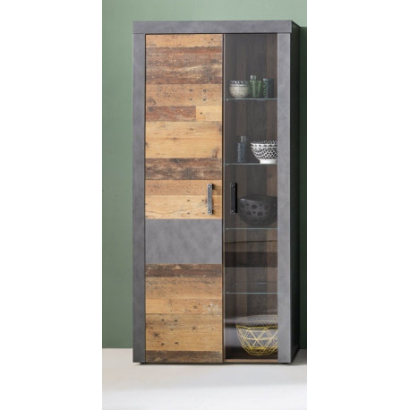 Indy display cabinet in old wood and grey finish