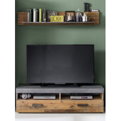Indy 139cm TV stand in old wood and grey finish