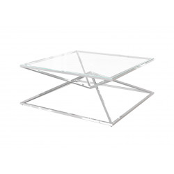Piano coffee table in polished stainless steel with glass top
