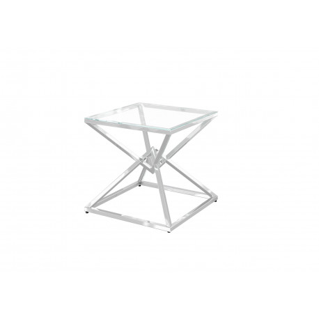 Piano side table in polished stainless steel with glass top