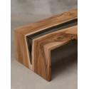 Aria bespoke walnut and glass coffee table
