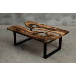 Aria V bespoke walnut and resin coffee table