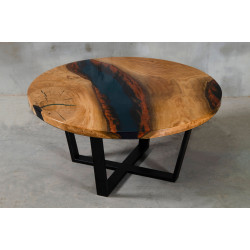 Aria VI oak and dark blue resin coffee table