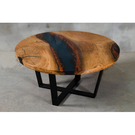 Aria VI oak and dark blue resin coffee table