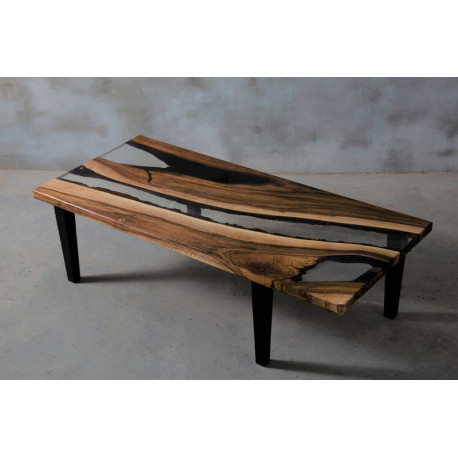 Aria VII walnut and clear resin coffee table