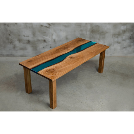 Aria III oak and blue resin dining table