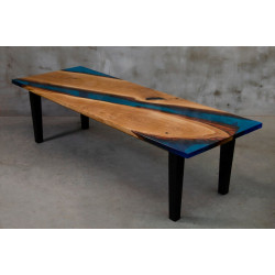 Aria IV oak and blue resin dining table