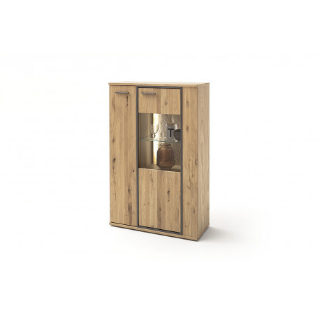 Campio 90cm assembled solid wood display highboard