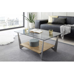 Leon glass top and oak coffee table