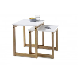 Riverside contemporary nest of 2 tables in matt lacquer and oak