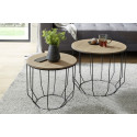 Haiti contemporary set of two tables with oak top