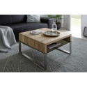 Hilary small oak coffee table with stainless steel legs