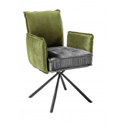 Joel II- modern dining chair in premium green senile fabric