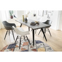 Rock II modern dining chair with wood legs in black paint