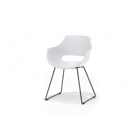 Rock III modern dining chair with metal legs in black paint