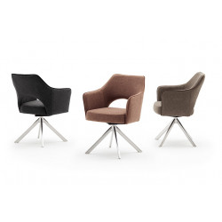 Tony swivel dining chair with brushed steel legs