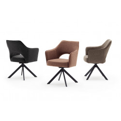 Tony II swivel dining chair with black metal legs