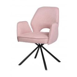 Nelly swivel dining chair with black metal legs
