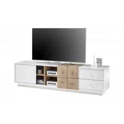 Manisa 180cm matt white TV unit with oak imitation fronts