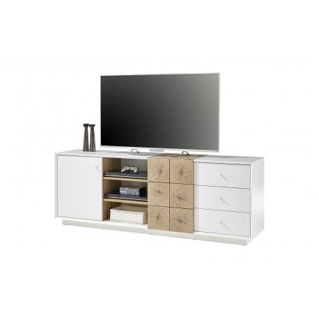 Manisa 180cm large matt white TV unit with oak imitation fronts