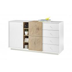 Manisa 152cm matt white sideboard with oak imitation fronts