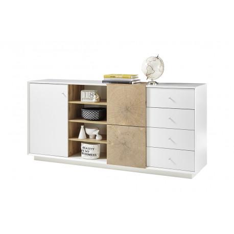 Manisa 180cm matt white sideboard with oak imitation fronts