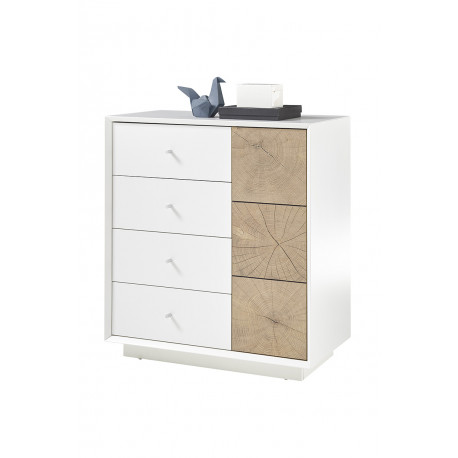 Manisa 76cm matt white sideboard with oak imitation fronts