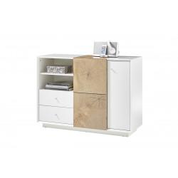 Manisa 116cm matt white sideboard with oak imitation fronts