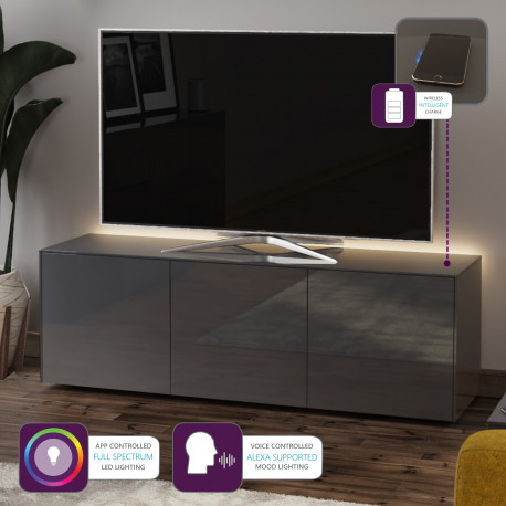 Ferro II - intelligent TV Unit with wireless phone charger in grey finish