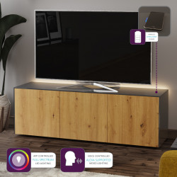 Ferro II - intelligent TV Unit with wireless phone charger in grey and oak finish