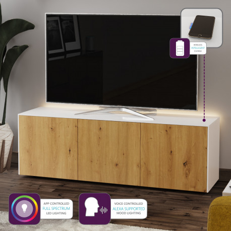 Ferro II - intelligent TV Unit with wireless phone charger in white and oak finish