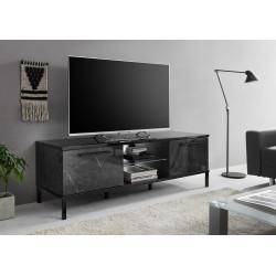 Mango 156cm black marble gloss TV Unit with LED lights