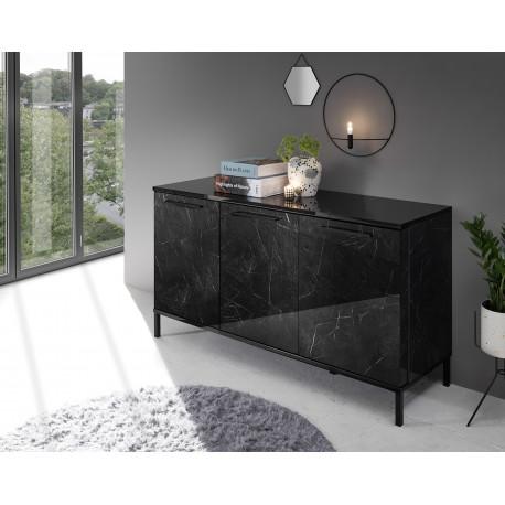 Mango 156cm three doors black gloss marble sideboard